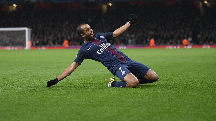 Lucas, buteur pour le PSG à l'Emirates face à Arsenal (JUSTIN TALLIS / AFP)