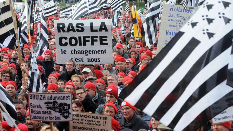 Le collectif Vivre, décider et travailler en Bretagne avait mobilisé plusieurs dizaines de milliers de personnes contre l'écotaxe à Quimper et à Carhaix (Finistère), en novembre. (FRED TANNEAU / AFP)