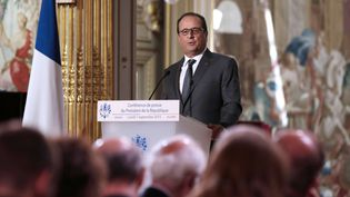 Le président de la République, François Hollande, lors d'une conférence de presse à l'Elysée, le 7 septembre 2015. (PHILIPPE WOJAZER / AP / SIPA)