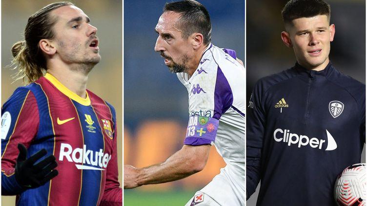 Antoine Griezmann (FC Barcelone), Franck Ribéry (Fiorentina) et Illan Meslier (Leeds)