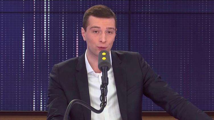 Jordan Bardella, eurodéputé du Rassemblement national, était l'invité de franceinfo mardi 3 mars 2020. (FRANCEINFO / RADIO FRANCE)