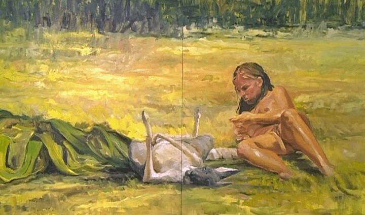 Femme nue allongée aux côtés d'un Kangourou, Gilles Miquelis  (France 3 / Culturebox)