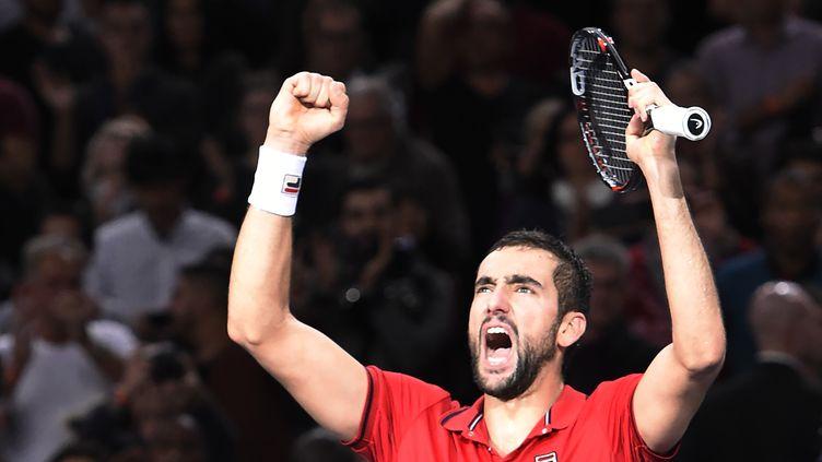 La joie de Marin Cilic après son exploit face à Novak Djokovic. (MIGUEL MEDINA / AFP)