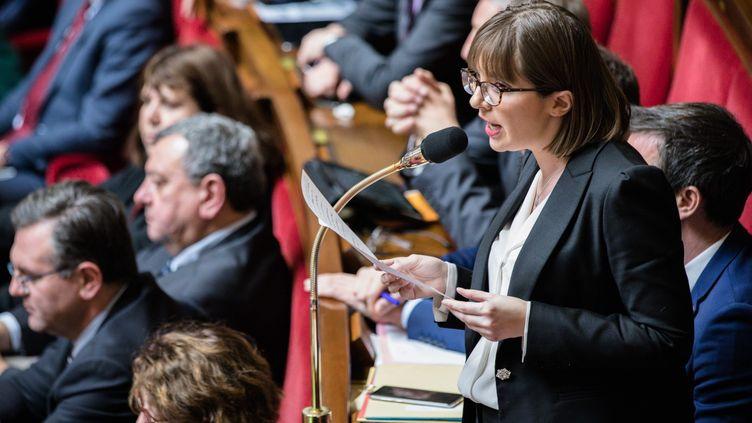 La députée LREM Aurore Bergé lors des questions au gouvernement à l'Assemblée nationale, le 20 février 2018. (MAXPPP)