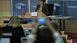 Sylvie Goulard lors de sa seconde audition par les eurodéputés, jeudi 10 octobre 2019 à Bruxelles (Belgique). (KENZO TRIBOUILLARD / AFP)