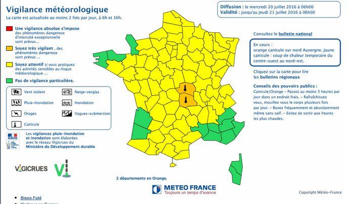 (Canicule : seuls le Puy-de-Dôme et l'Allier restent en vigilance orange © capture d'écran Météo France)