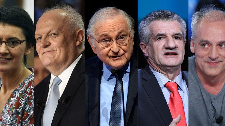 Nathalie Arthaud(LO), François Asselineau(UPR), Jacques Cheminade(Solidarité et progrès), Jean Lassalle(Résistons!) et Philippe Poutou(NPA)  (AFP(Pascal PAVANI, Lionel BONAVENTURE, Eric PIERMONT, Bertrand GUAY, Kenzo TRIBOUILLARD))