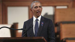 Barack Obamalors d'un discours pour les funérailles d'une figure les plus respectées du combat pour les droits civiques, John Lewis, le 30 juillet 2020, à Atlanta (Géorgie). (GETTY IMAGES NORTH AMERICA / AFP)