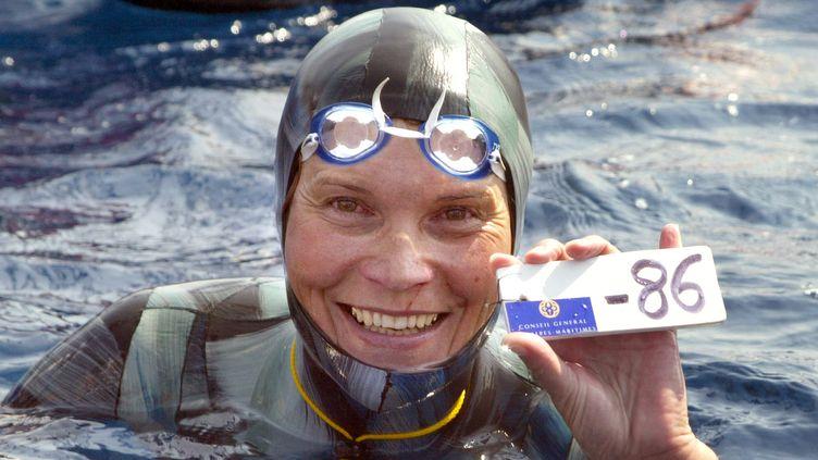 En 2005, Molchanova était descendue à 86 mètres de profondeur en apnée (JACQUES MUNCH / AFP)