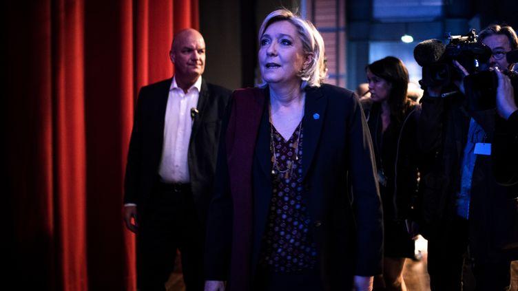 """Marine Le Pen, aux """"assises présidentielles"""" du FN à Lyon, prononcera un discours dimanche 5 février. (JEFF PACHOUD / AFP)"""