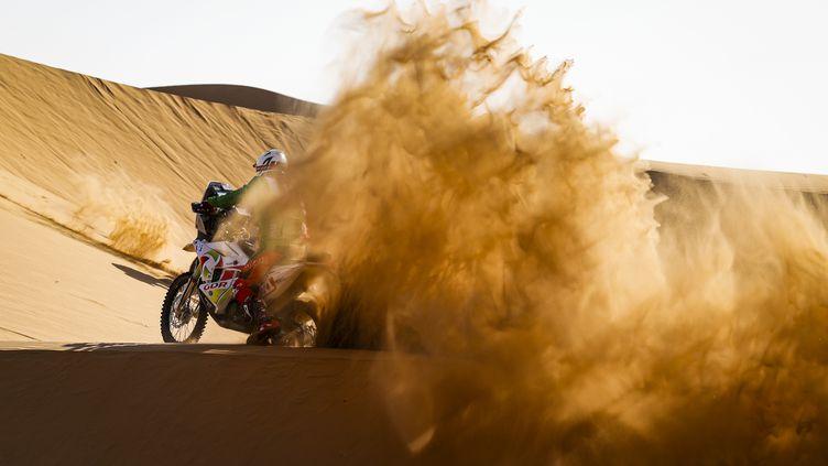 Le motard amateur Pierre Cherpin sur la deuxième étape du Dakar 2021 (JULIEN DELFOSSE / DPPI MEDIA)