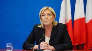 Marine Le Pen donne une conférence de presse au siège du Front national, à Nanterre (Hauts-de-Seine), le 6 février 2015. (CITIZENSIDE.COM / AFP)