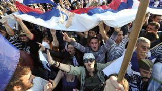 Manifestants nationalistes, à Belgrade, le 29 mai 2011 (AFP/ATTILA KISBENEDEK)
