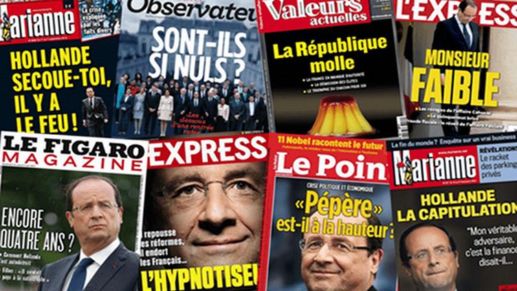 Plusieurs unes de magazines, publiées durant la première année de François Hollande à l'Elysée. (FRANCETV INFO)