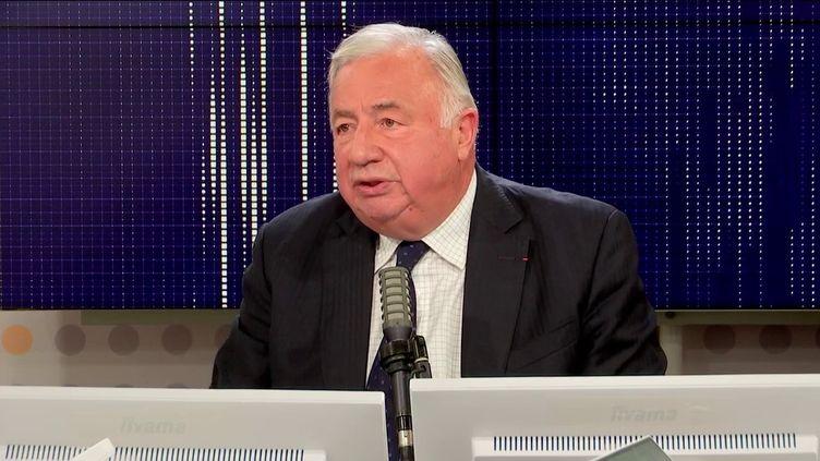 """Gérard Larcher, président LR du Sénat, était l'invité du """"8h30 franceinfo"""", mardi 12 octobre 2021.  (FRANCEINFO / RADIO FRANCE)"""