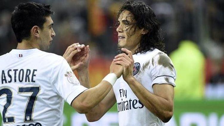 Javier Pastore, passeur décisif, et Edinson Cavani, buteur, ont été les deux principaux éléments offensifs du PSG. ((MARTIN BUREAU / AFP))