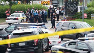 """Le journal """"Capital Gazette"""" a été la cible d'une fusillade à Annapolis (Etats-Unis), le 28 juin 2018. (SAUL LOEB / AFP)"""