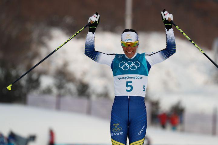 La skieuse suédoise Charlotte Kalla à Pyeongchang (Corée du Sud), le 10 février 2018. (ODD ANDERSEN / AFP)