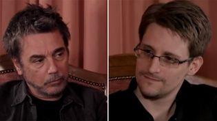 """Jean-Michel Jarre et Edward Snowden réunis à Moscou pour le tournage de """"Exit"""", entre musique et document. La première vidéo d'où ces images ont été capturées a été remplacée le 28 avril 2016 par un clip officiel  (Capture écran YouTube)"""