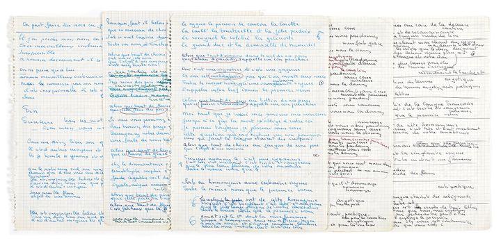 """Manuscrits autographes pour la chanson """"Le Vieux Léon"""". 17 pages, ou fragments de pages, sur 9 ff., papier quadrillé perforé. Ensemble de manuscrits de travail pour la chanson qui ouvre l'album """"Le Pornographe"""", gravé en 1958. (BRASSENS (GEORGES))"""