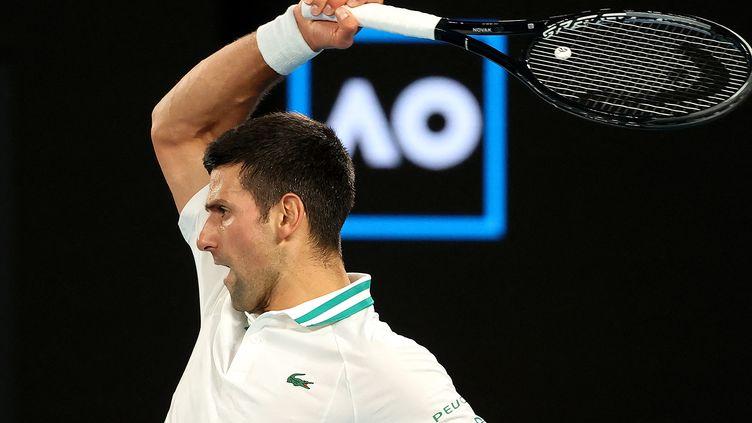 Le Serbe Novak Djokovic lors de la finale de l'Open d'Australie 2021 contre Daniil Medvedev à Melbourne, le 21 février 2021 (DAVID GRAY / AFP)