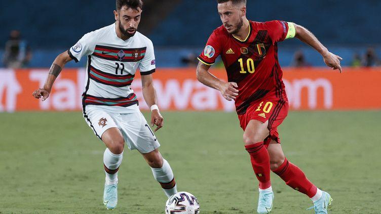 Eden Hazard et les Belges ont passé l'obstacle portugais, dimanche 27 juin à Séville. (JULIO MUNOZ / POOL / AFP)