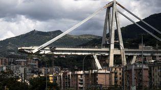 Le pont Morandi à Gênes (Italie), après son effondrement, le 2 septembre 2018. (MARCO BERTORELLO / AFP)