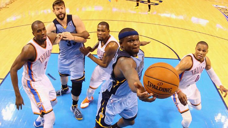 Zach Randolph (Memphis Grizzlies) a fait des misères à Oklahoma City (RONALD MARTINEZ / GETTY IMAGES NORTH AMERICA)
