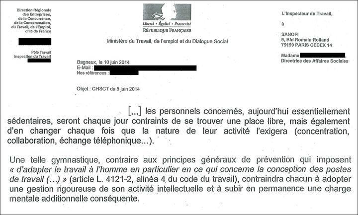 Extrait de la lettre de l'Inspection du travail. (DR)