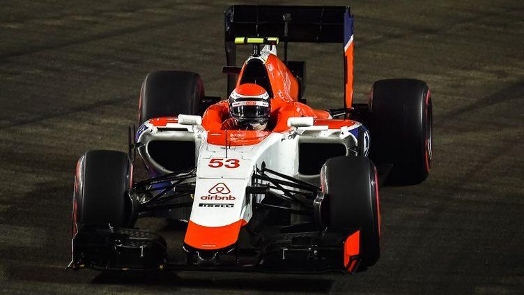 Alexander Rossi, au volant de la Manor Marussia au GP de Singapour (PHILIPPE LOPEZ / AFP)