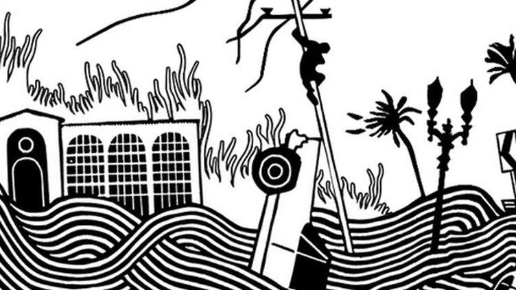 """Extrait de la pochette d'""""Amok"""" d'Atoms For Peace dessinée par Stanley Donwood.  (Stanley Donwood @ atomsforpeace.info)"""