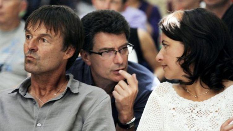 Nicolas Hulot, Pascal Durand et Cécile Duflot (JEAN-PIERRE MULLER / AFP)