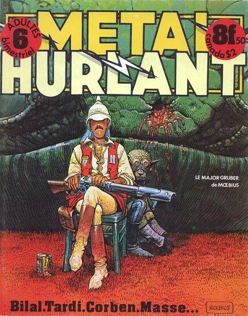Métal Hurlant, n°6 (en 1976). En Une, un dessin de Moebius (le Major Gruber). (LES HUMANOÎDES ASSOCIES)