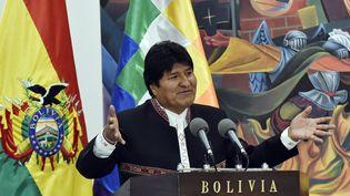 Le président bolivien, Evo Morales, lors d'un discours à La Paz, le 14 août 2019. (AIZAR RALDES / AFP)