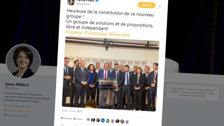 """Les députés membres du nouveau groupe parlementaire """"Liberté et territoires"""" lors d'une conférence de presse organisée à l'Assemblée nationale, mercredi 17 octobre 2018. (SYLVIA PINEL / TWITTER)"""