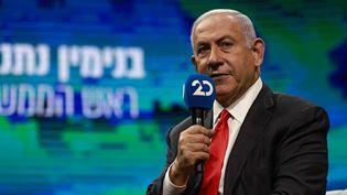 Le Premier ministre israélien Benyamin Nétanyahou lors d'une interview à Jérusalem, le 16 mars 2021. (MENAHEM KAHANA / AFP)
