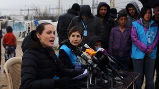 Angelina Jolie s'exprime depuis le camp de réfugiés syriens de Zahlé dans la plaine de la Bekaa, au Liban, le 15 mars 2016.  (Bilal Hussein/AP/SIPA)