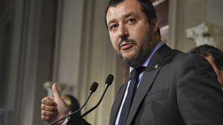 Matteo Salvini, chef de la Ligue et nouveau ministre de l'Intérieur, et vice-Premier ministre en conférence de presse au Palais Quirinal, le 31 mai 2018, à Rome (Italie). (ANDREAS SOLARO / AFP)