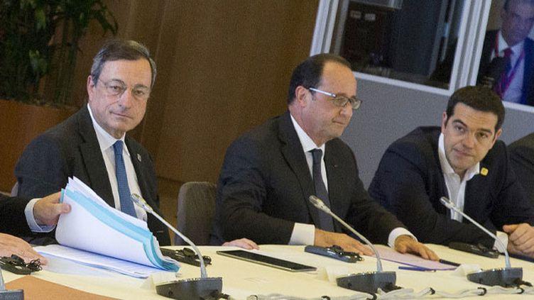 (Mario Draghi, président de la BCE, lors d'une réunion de négociation à Bruxelles le 22 juin 2015©)