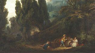 """Elément du tableau """"Le jeu de la palette"""" de Fragonard  (Tajan)"""