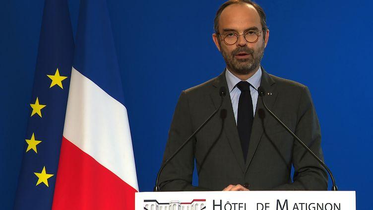 """Le Premier ministre, Edouard Philippe, annonce de nouvelles mesures afin de répondre à la colère des """"gilets jaunes"""", le 4 décembre 2018 à l'hôtel de Matignon, à Paris. (AFP)"""