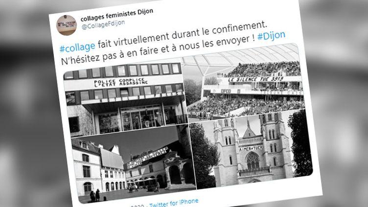 Le collectif Collages Féministes Dijon colle virtuellement des affiches contre les violences faites aux femmes sur les bâtiments de la ville. (CAPTURE D'ECRAN TWITTER)