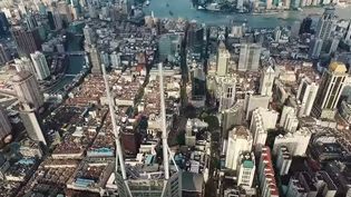 Capture d'écran de la vue du sommet de la Tour Shimao de Shanghai (Chine), haute de 333 m, octobre 2015 (ON THE ROOFS / YOUTUBE)
