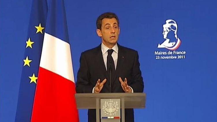 Nicolas Sarkozy, le 23 novembre 2011 à Paris devant les maires de France. (BENOIT ZAGDOUN - FTVi / FRANCE 2)