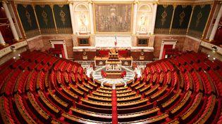 L'hémicyle de l'Assemblée nationale, le 24 mars 2017 à Paris. (PHOTO12 / GILLES TARGAT / AFP)