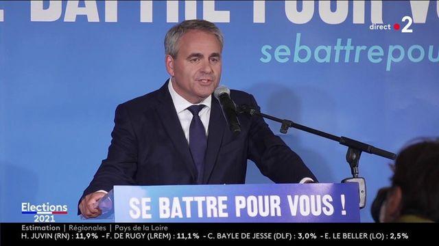 """Elections régionales et départementales : """"j'ai fait du Front National mon seul et unique ennemi"""", déclare Xavier Bertrand (LR), qui est arrivé en tête au 1er tour dans les Hauts-de-France selon notre estimation Ipsos/Sopra Steria"""