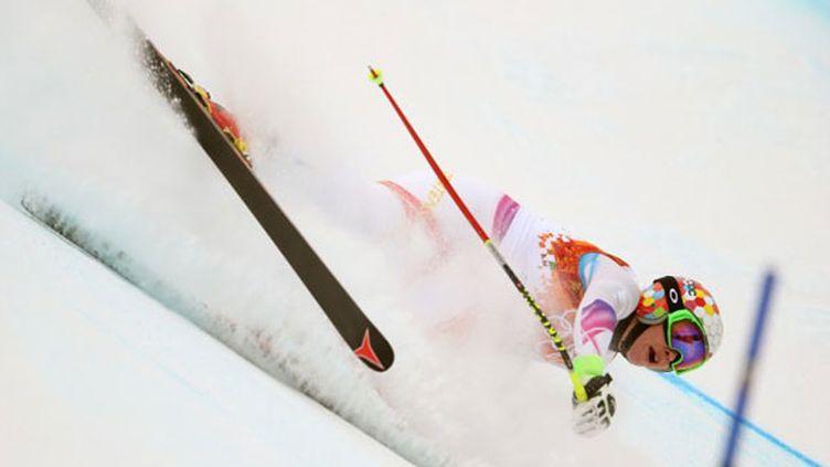La skieuse du Liechtenstein, Tina Weirather, lors de sa chute à l'entraînement