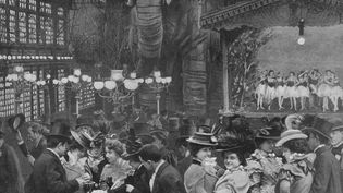Les jardins du Moulin Rouge, en 1900. (PRINT COLLECTOR / HULTON ARCHIVE / GETTY IMAGES)