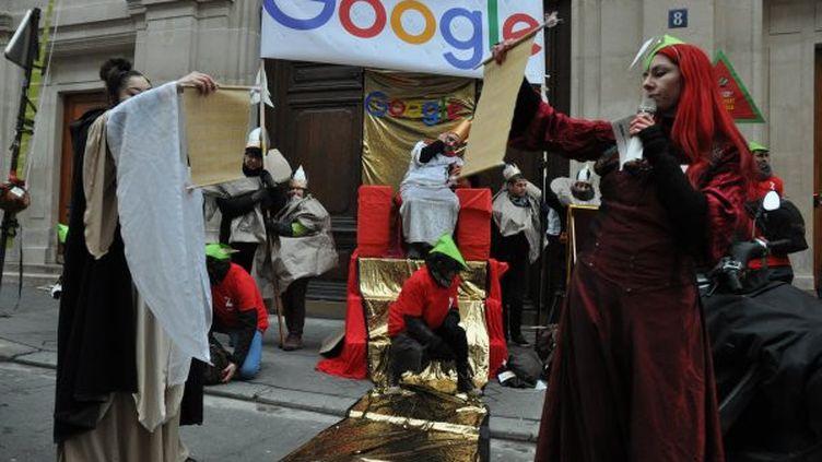 L'association Attac manifeste devant les locaux de Google à Paris, le 31 janvier 2019. (ATTAC FRANCE)
