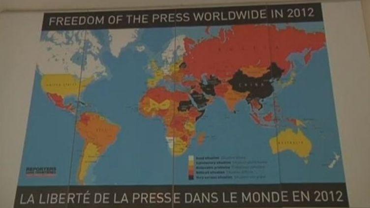 La carte du classement 2012 de la liberté de la presse de Reporters sans frontières. (FTVi)